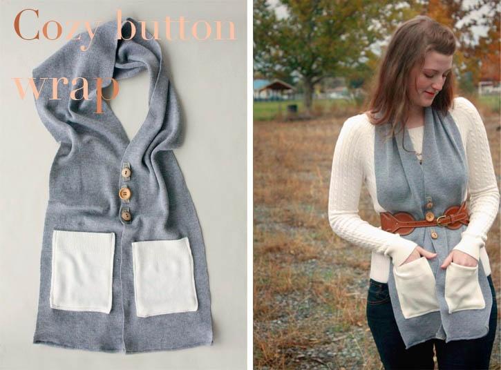 Cozy Button Wrap צעיף עם כפתורים ועם כיסים. אפשרויות לבישה רבות ומגוונות. פשוט מאד להכנה