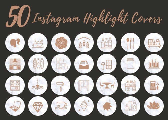 50 Instagram Story Highlight Icons White Marble Icon Covers For