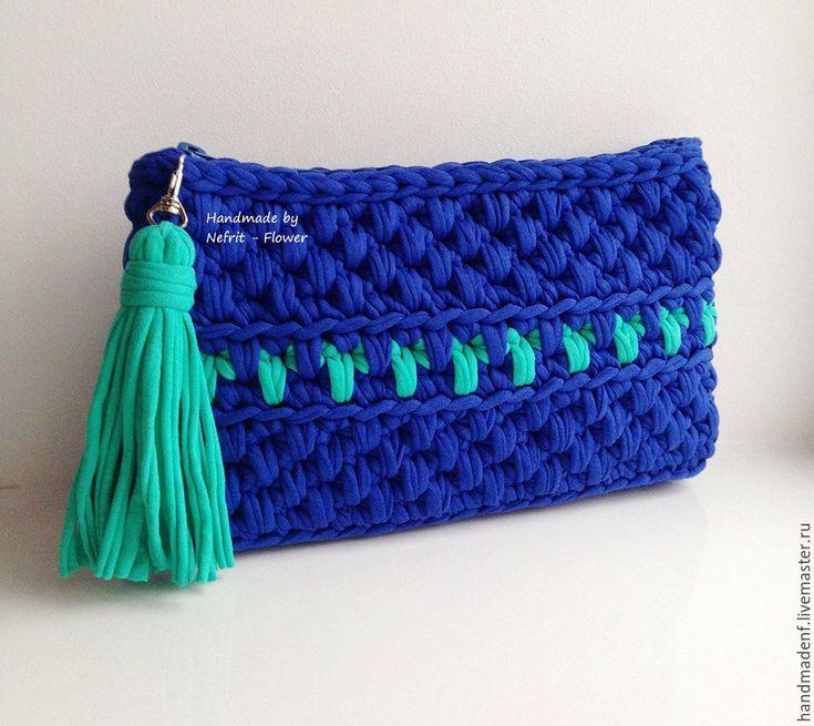 """Купить Вязаный клатч """"Синий и аквамарин"""" - синий, орнамент, аквамарин, вязаный клатч, вязаная сумка"""