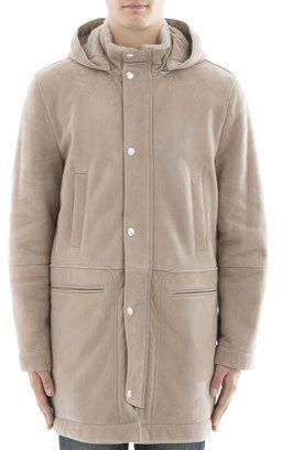 Brunello Cucinelli Men's Beige Leather Coat.