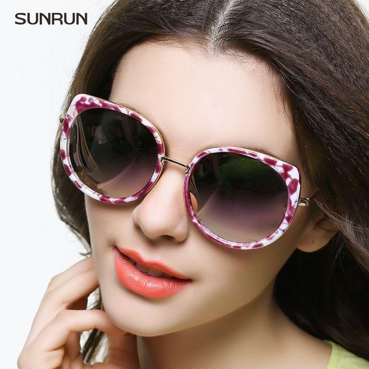 SUNRUN Polarized Sunglasses Women 2016 Fashion Luxury Brand Cat Eye Sun glasses Mirror Sunglasses Oculo de sol feminino A1655