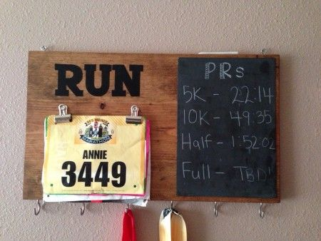 DIY running medal and PR board