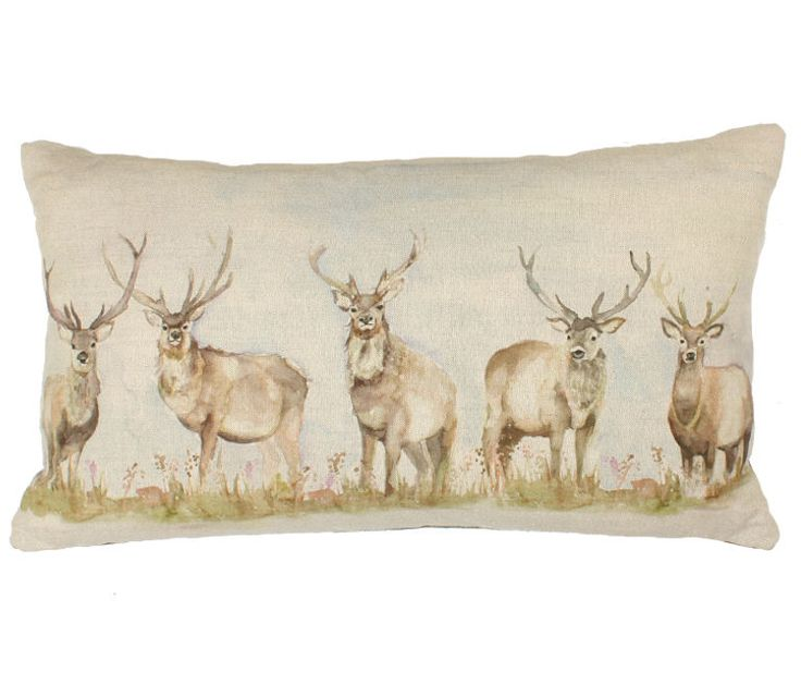 VOYAGE MAISON MOORLAND STAG CUSHION DEER WILDLIFE WOOL CHECK COTTON WATERCOLOUR £40.95