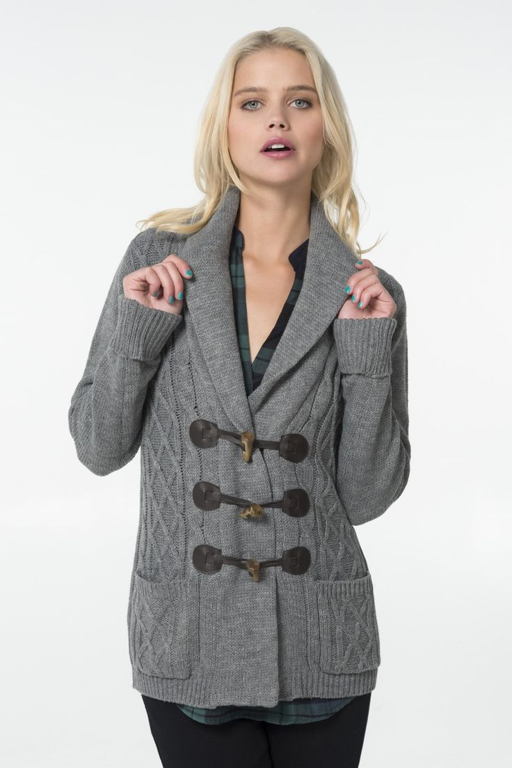 Heather grey cable knit button cardigan