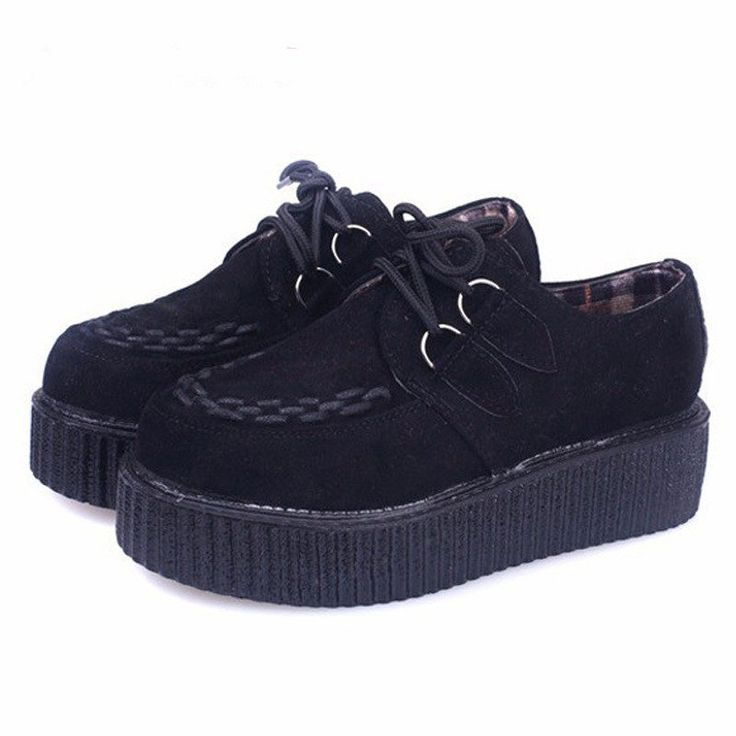 Cheap shoe box shoes, Buy Quality shoe roll directly from China shoes jazz Suppliers:  Creepers Shoes Woman Lace Up Flats Shoes Creepers Platform Shoes Black Plus Size 40 41