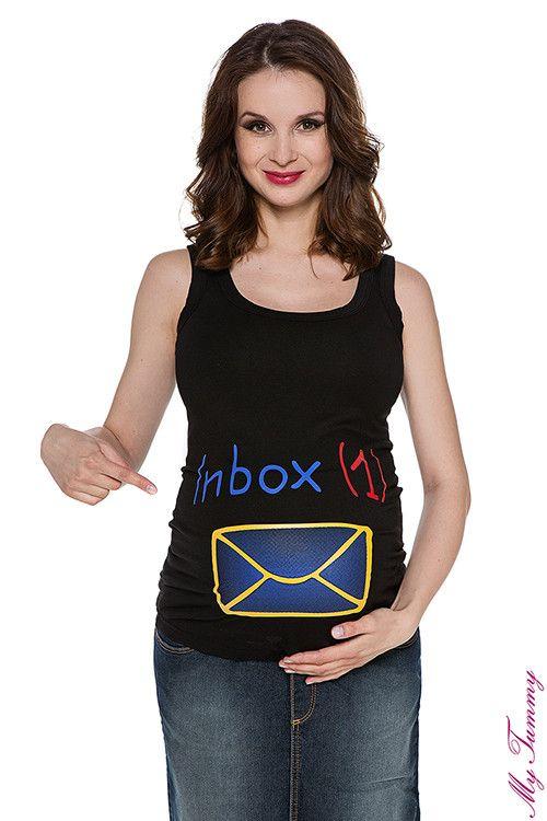 Koszulka ciążowa na ramiączkach Inbox czarna