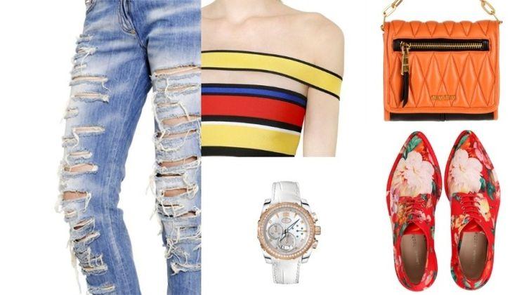 mode-été-2015-femme-jeans-déchirés-top-rayé-chaussures-fleurs-montre