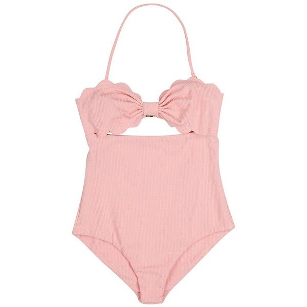 Halter Cut Out Backless One Piece Swimsuit ($11) ❤ liked on Polyvore featuring swimwear, one-piece swimsuits, halter one piece bathing suit, halter swimsuit, pink one piece bathing suit and cut-out one piece swimsuits