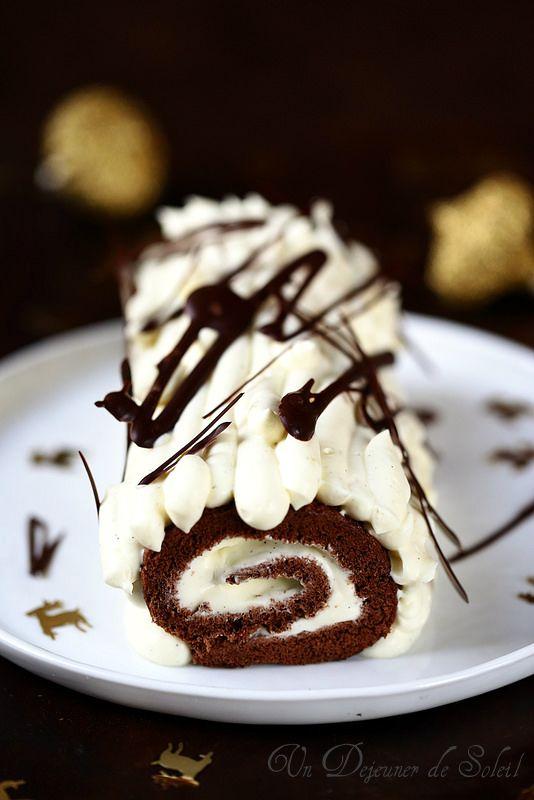 Bûche roulée au chocolat noir et blanc