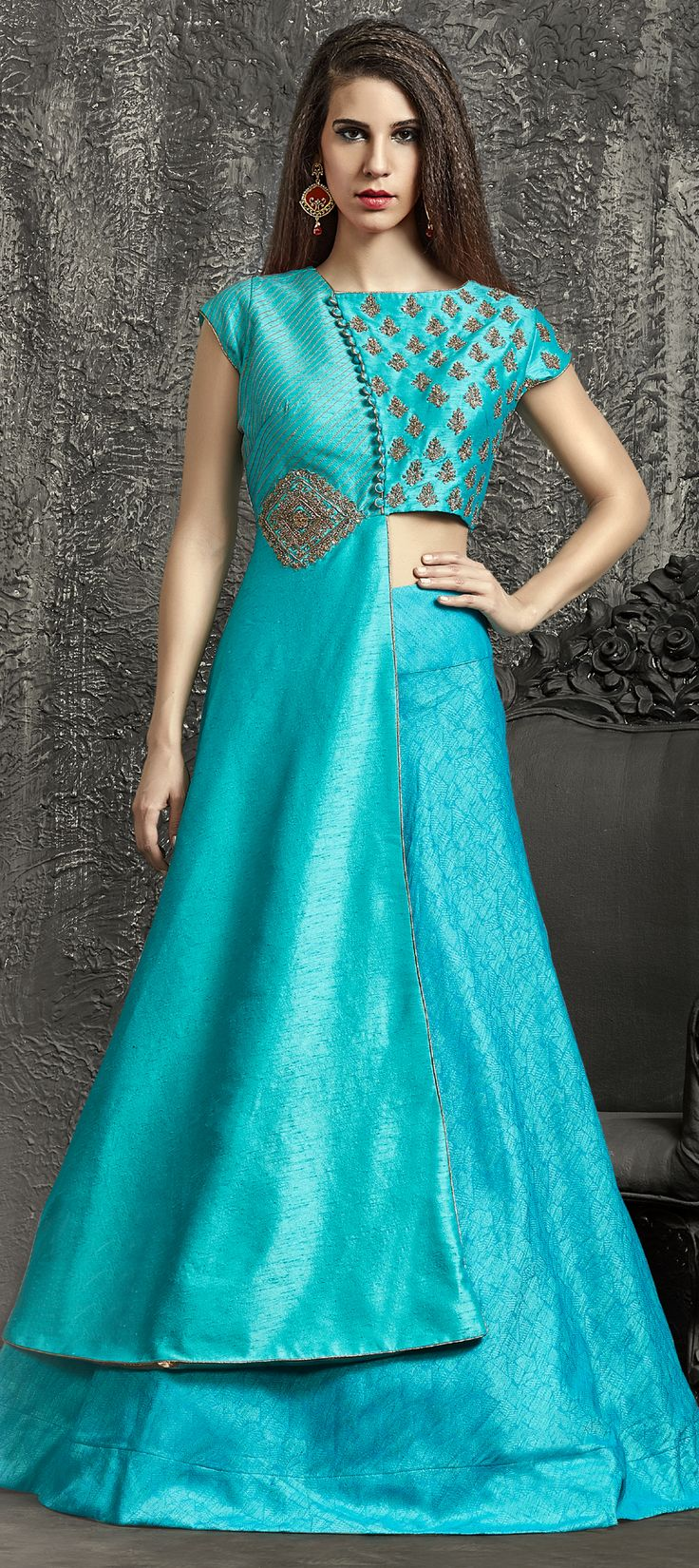 734541: Blue  color family  stitched Long Lehenga Choli .