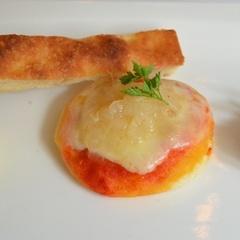 Een polenta met stokvis, een pizza met pikante uiencompote, een kip wortel salade en een reep focaccia - http://www.eet.nu/recensies/480541