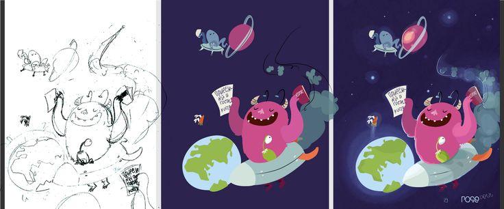 alien and monster fly on a visit to the boy http://rozovotruskova.blogspot.ru/