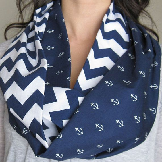 Navy anchor and chevron infinity scarf! Cute!!!