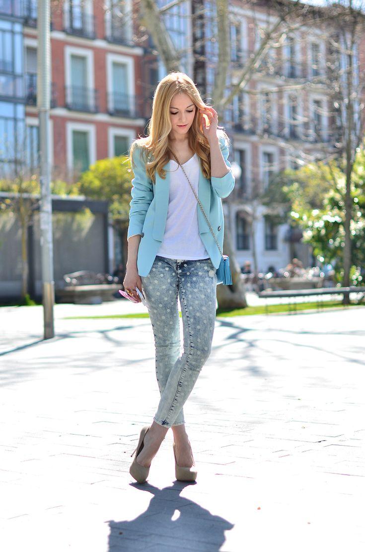polka dot jeans = <3, mint blazer = <3, mini tassel purse = <3