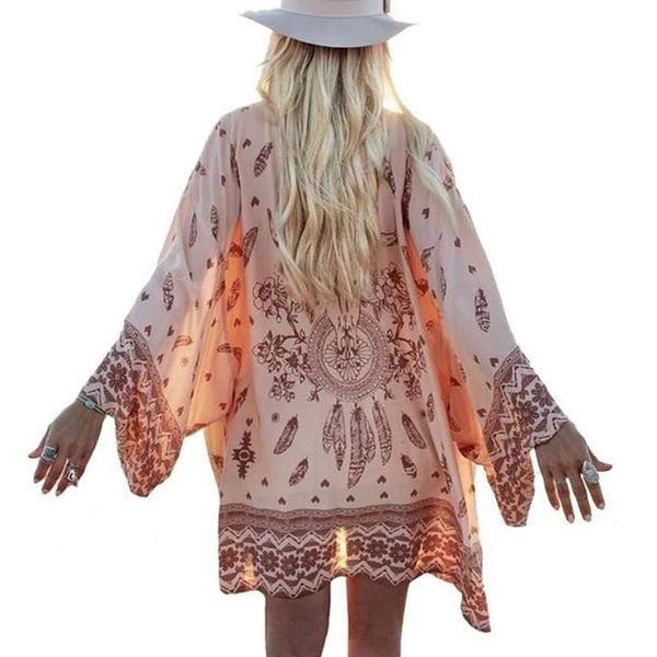 summer kimono, boho printed blouse, beach kimono with vintage feather print - Crystalline