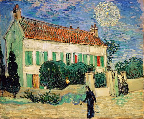 1890White House at Night ~ Painted just a few weeks before van Gogh's death. There is almost something a little rushed about the paint application. The finished painting seems a lot less refined than some of van Gogh's works from 1888-9, such as'Bedroom in Arles'and'Starry Night': Vincent Of Onofrio, White Houses, The Artists, Museums, Vincent Vans Gogh, Vincentvangogh, Canvas, Night, Vincent Van Gogh