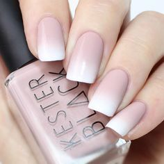2017 #spring nail design ideas   nude and white   square   gel polish   acrylic