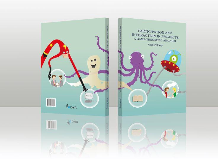 Geïllustreerde omslag voor een proefschrift over participatie.  Illustrated cover for a thesis on participation.