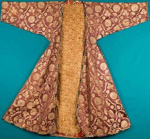 Robe; Man's, Banyan, Silk Brocade, Vine with Leaves, Berries & Flowers, Hand-Knit Cross-Stitched Edge Band, Plum, 48 inch., 1835-1860