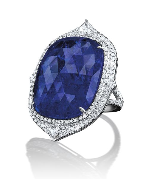 GABRIELLE'S AMAZING FANTASY CLOSET | Cellini Jewelers | Tanzanite Ring approx. 30 Carats, Diamond Surround | You can see the Rest of the Outfit and my Remarks on this board. - Gabrielle