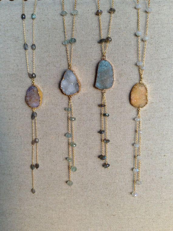Gemstone Chain Lariat Style Necklace with by GoldenstrandJewelry, $175.00