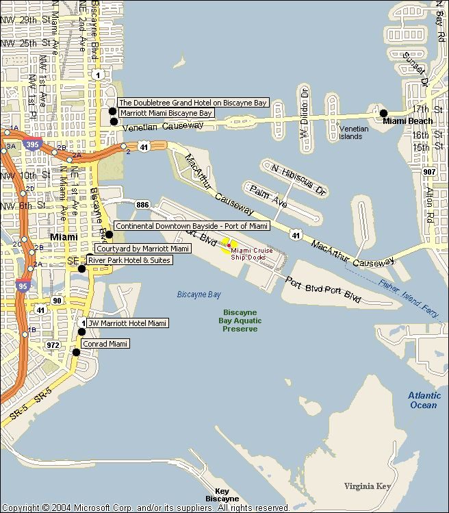Port Of Miami Car Rentals: Map To Port Of Miami Where The Cruise Ships Dock.