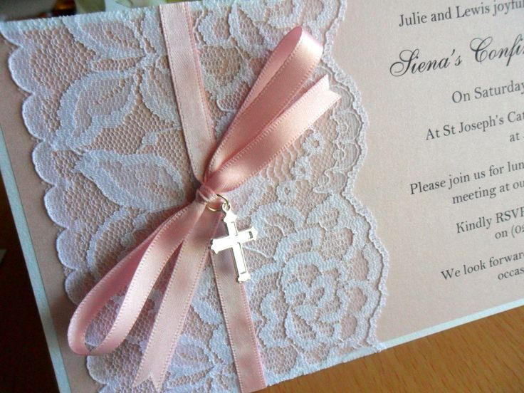 Vintage lace Christening invitations