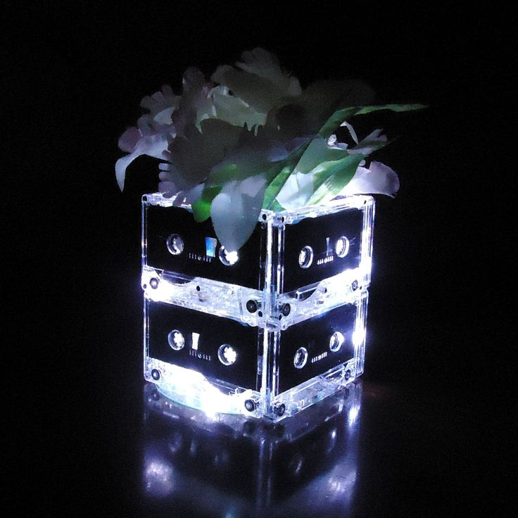 Lighted Mixtape Wedding Table Centerpieces made to order  Music 80s 90s Punk Rock Wedding. $49.00, via Etsy.