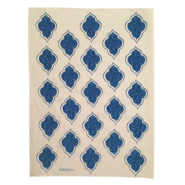 Navy blue lanterns linen tea towel