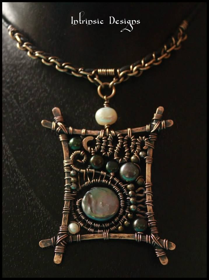 Organic Freeform Pendant Necklace by Cathy Heery ~ I like how she infused the leather cord into the piece by wrapping it w/ wire.