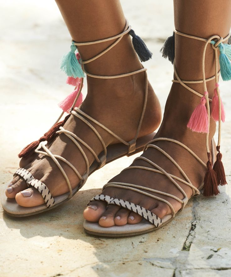 These lovely sandals will complete your Ibiza look. They feature leg straps  and summer details