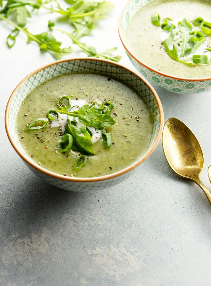 Creamy Vegan Arugula Soup. A comforting way to eat more leafy greens when it's TOO COLD to eat a salad!
