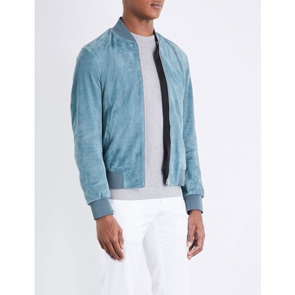 PAUL SMITH Suede bomber jacket ($1,535) ❤ liked on Polyvore featuring men's fashion, men's clothing, men's outerwear, men's jackets, mens suede bomber jacket, mens suede leather jacket and mens suede jacket