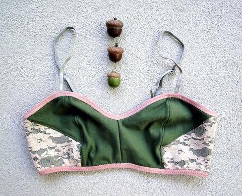 Low rise cotton panties green blush lace