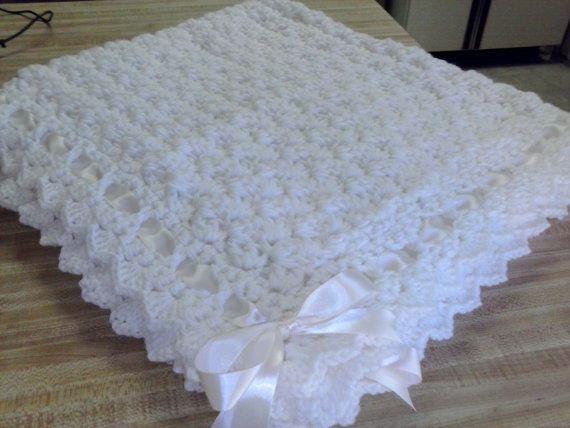 Crochet Baby Cream Puff Blanket Crib Baptism Christening