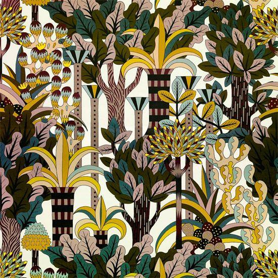 Inspirado por um jardim indiano, este novo papel de parede de Pierre Marie para a Hermès ilustra um mundo colorido para ambientes refinados.