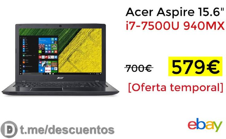 Portátil Acer Aspire 15.6 i7-7500U por 579 - http://ift.tt/2wNQFVd