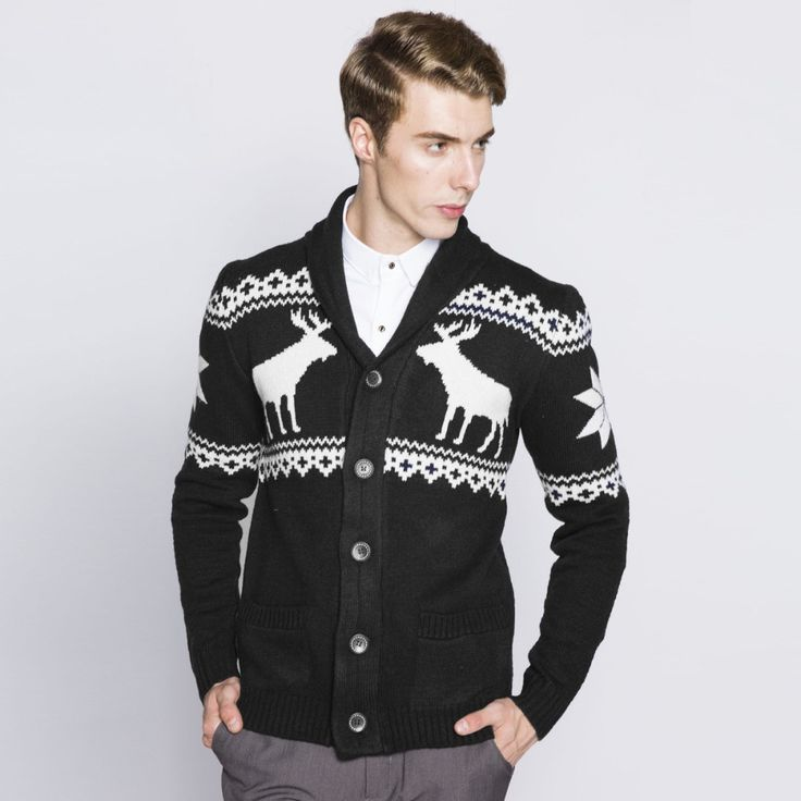Christmas Sweater with Deer Winter 2016 Knitted Men Maglione Uomo Autumn Cardigan Coat Knitwear Pull Homme Jumper Sweaters Male