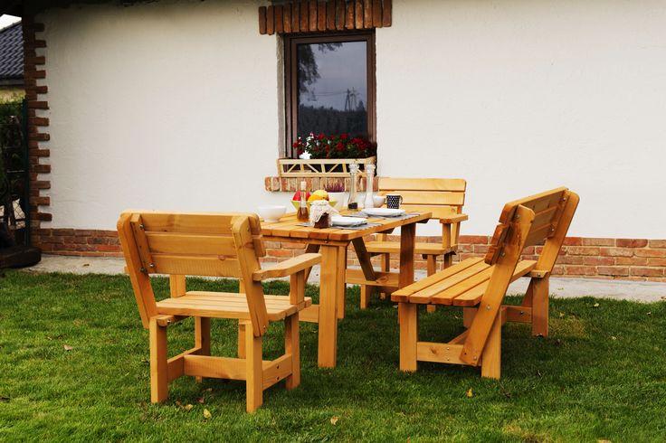 Zestaw ogrodowy impregnowany Ania, stół, 2 fotele, ławka, cena: 750 zł