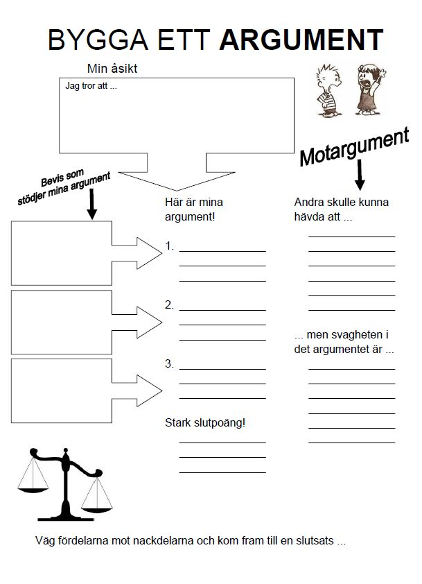 Skolkorgen - bygg ett argument, åk 3