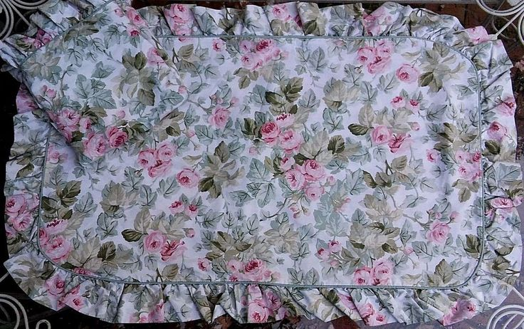 Laura Ashley Cottage Rose King Size Pillow Shams Pink Green Ruffle Piping Shabby…