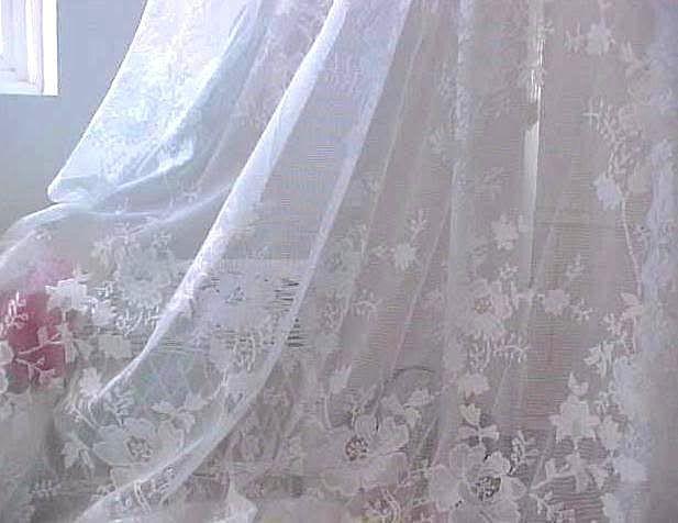 White French Roses Lace Netting Drapes Crystal Beaded Valance Shabby Chic Window Treatments