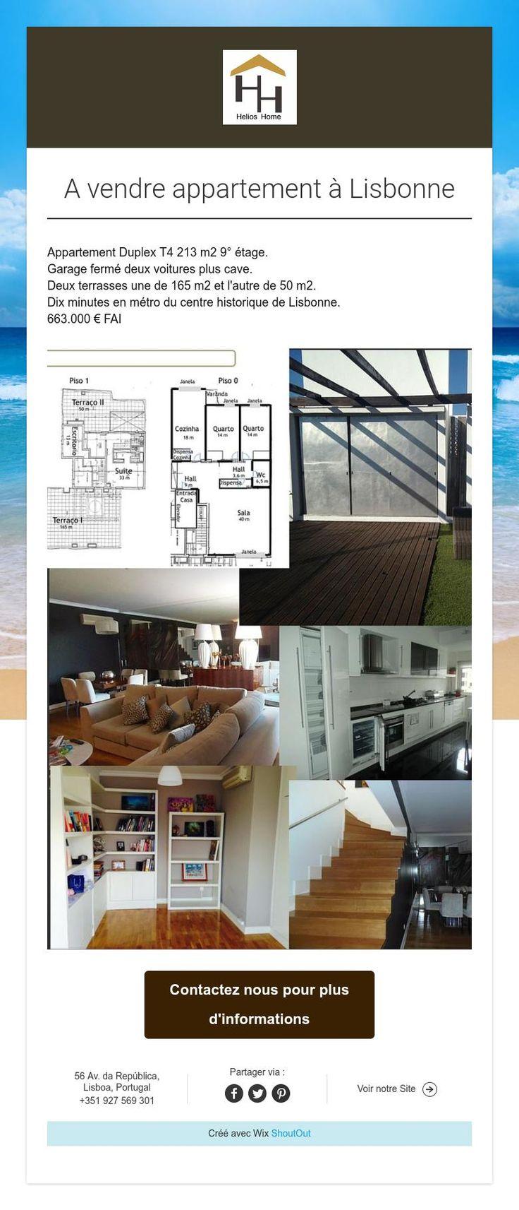 Immobilier à Vendre  Magnifique appartement duplex à vendre à Lisbonne T4 213 m2 avec garage pour deux voitures et cave. A 10 minutes de métro du centre historique de Lisbonne.