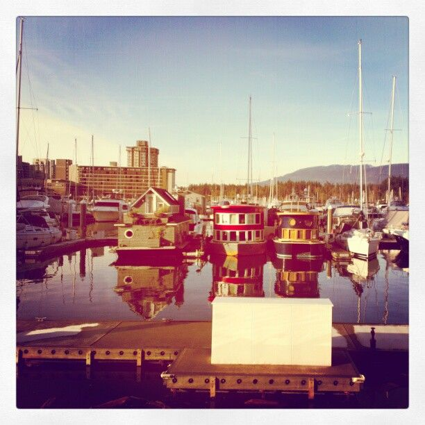 houseboats in the Coal Harbour Marina. Photo by andrulais