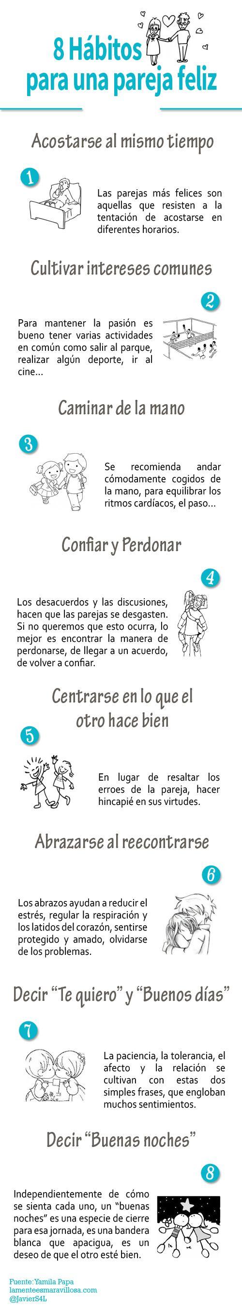 Mi pequeños aportes: 8 hábitos para ser una pareja feliz Infografía Aquí les dejo una infografía con 8 hábitos para ser una pareja feliz #Psicologia #Infografia