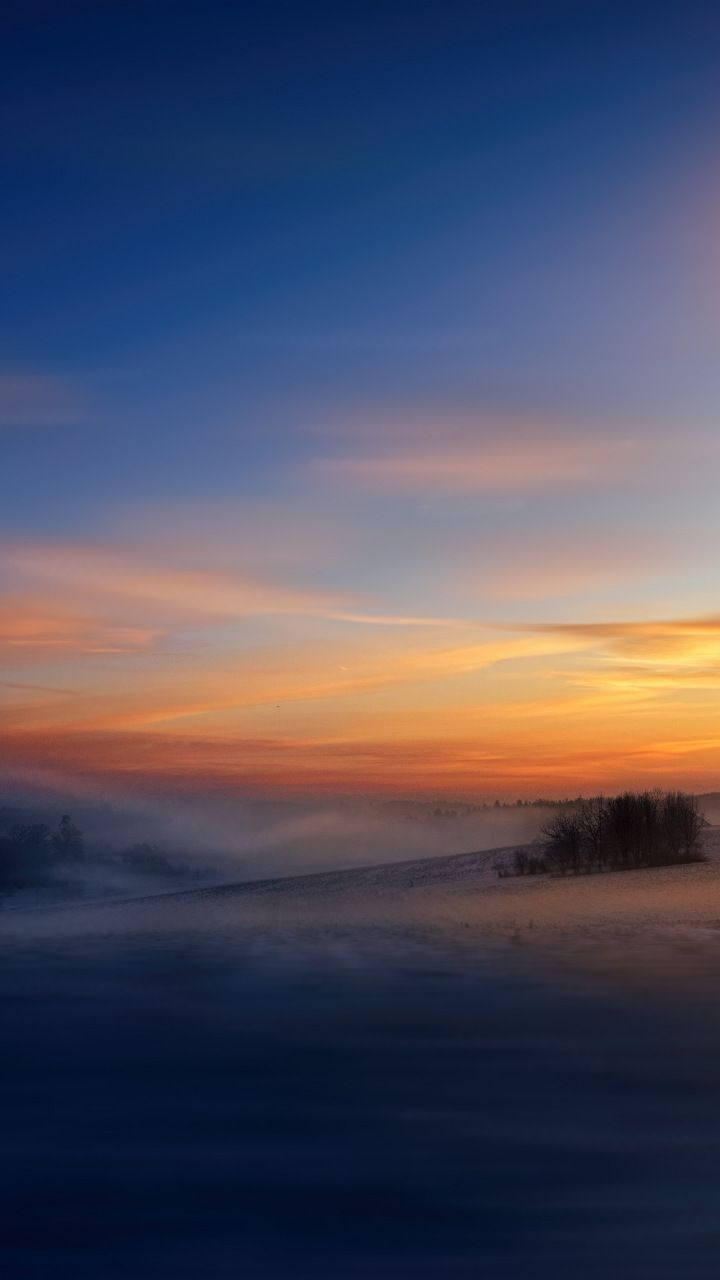 Winter, dawn, sunrise, sky, fog, 720x1280 wallpaper