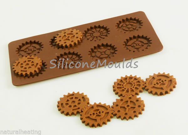 STEAMPUNK GEARS Cogs Chocolate Candy Mold Silicone Bakeware Mould Resin Wax Soap
