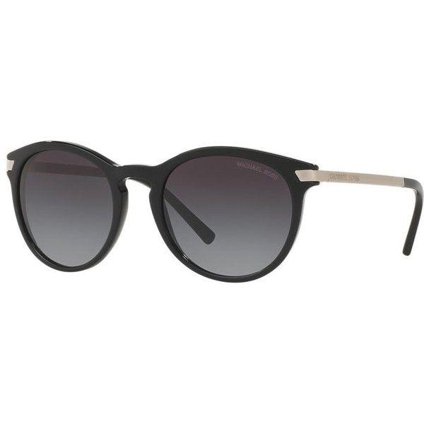 Michael Kors Mk2023 53 Adrianna IIi Black Round Sunglasses ($99) ❤ liked on Polyvore featuring accessories, eyewear, sunglasses, michael kors eyewear, michael kors glasses, round frame glasses, round sunglasses and michael kors sunglasses