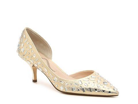 Pantofi aurii cu toc mic de ocazie cu pietre