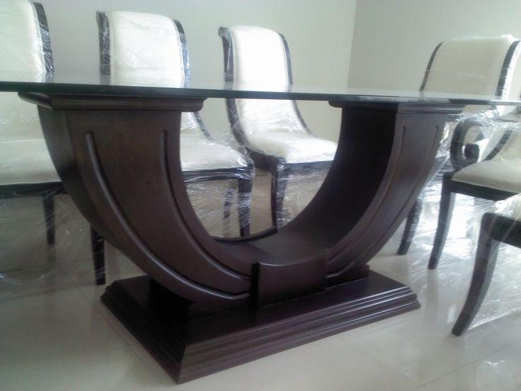 Base novatore para mesa rectangular en madera de banak for Mesas de comedor de vidrio y metal
